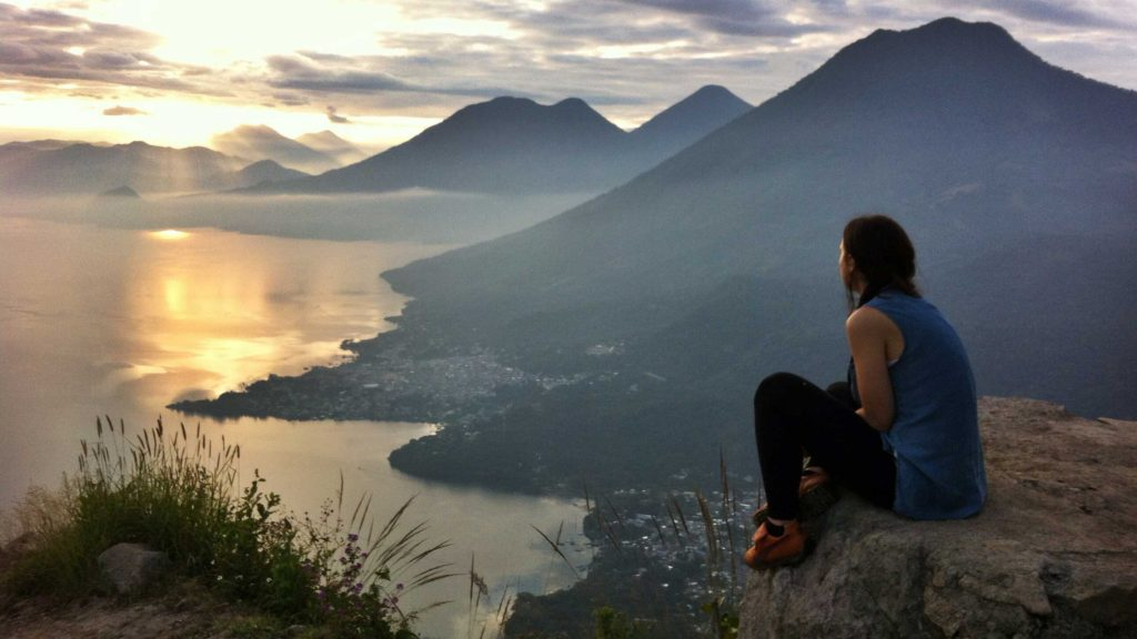 Watching the sunrise at Lake Atitlan, Guatemala