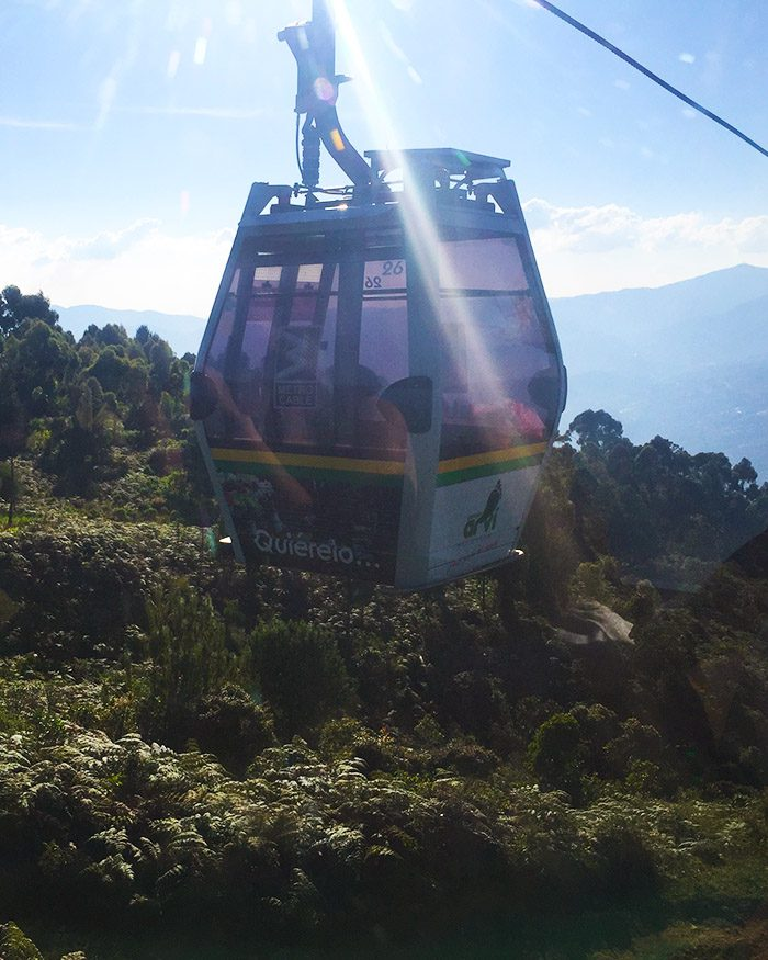 Cable car over forest medellin