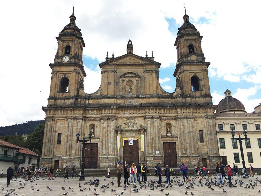 Cathedral in Bolivar Plaza Bogota Colombia