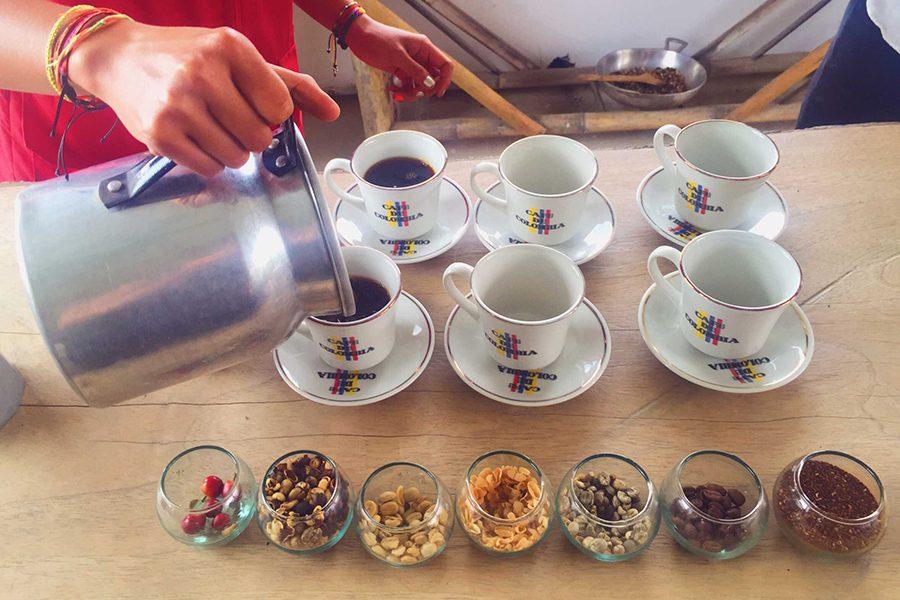 Pouring coffee at Finca Ocaso, Colombia