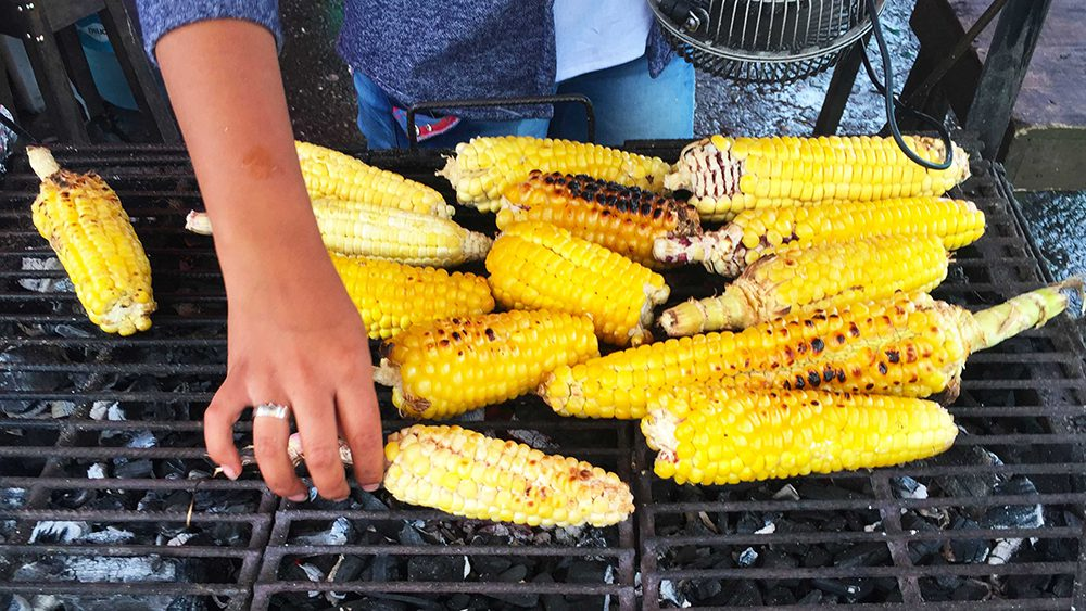 Roasted corn on the street in Salento, Colombia