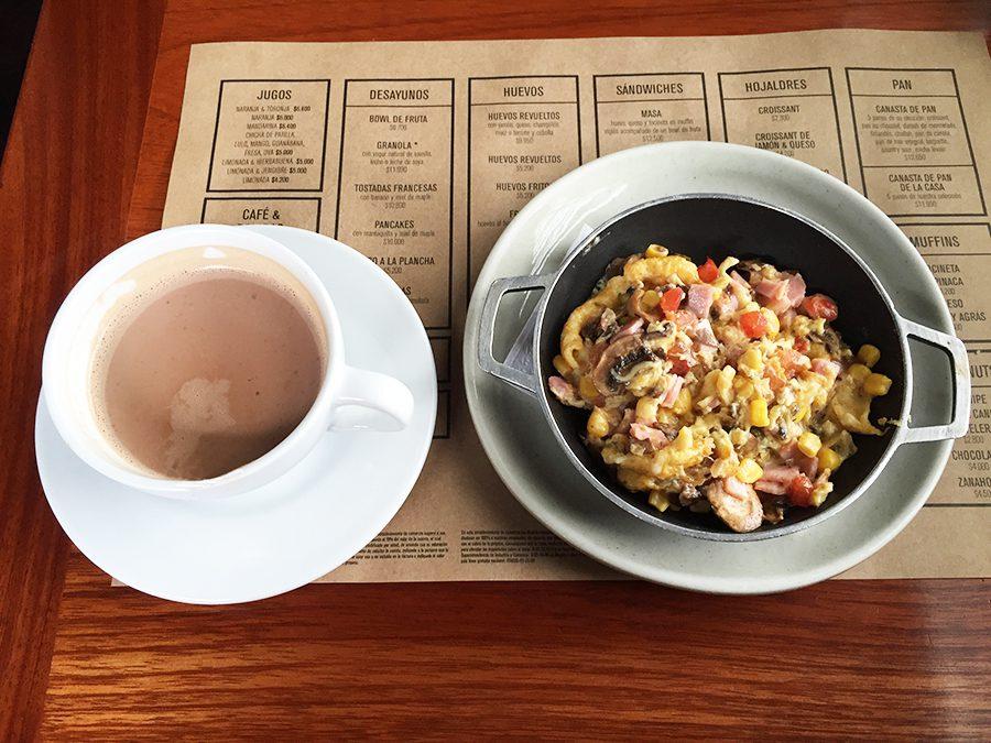 Eggs and hot chocolate at masa bogota