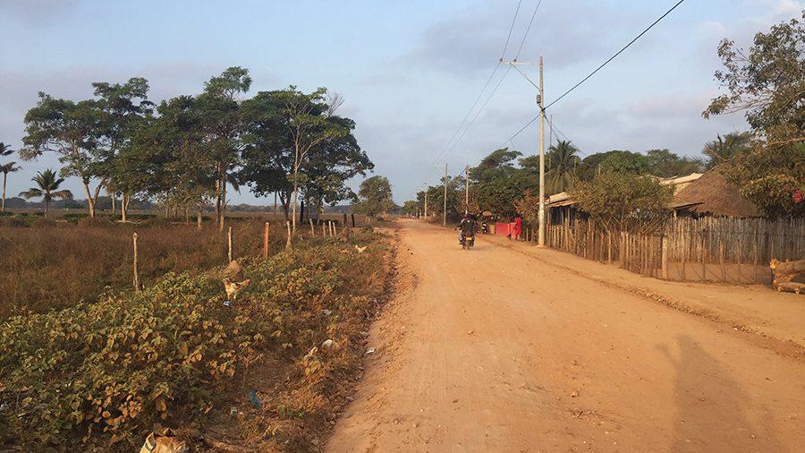 entering rincon del mar by motorcycle, colombia