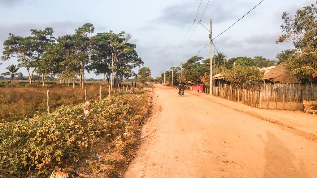 entering rincon del mar by motorcycle, colombia