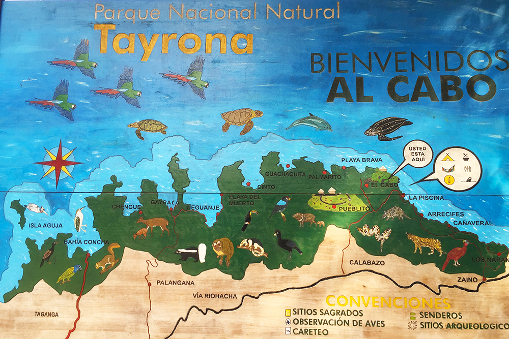 Map of Parque Tayrona, Colombia