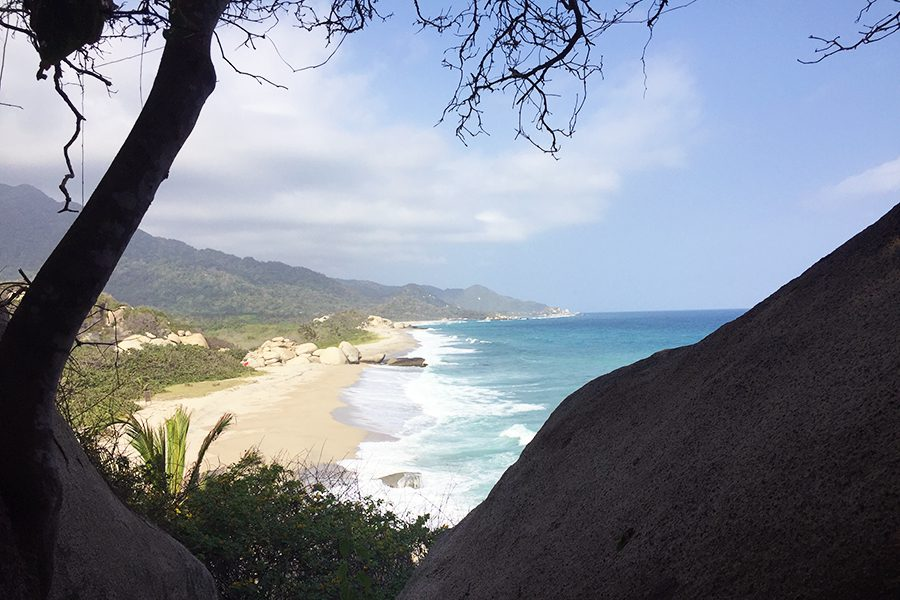 First glimpse of the beach while hiking Parque Tayrona