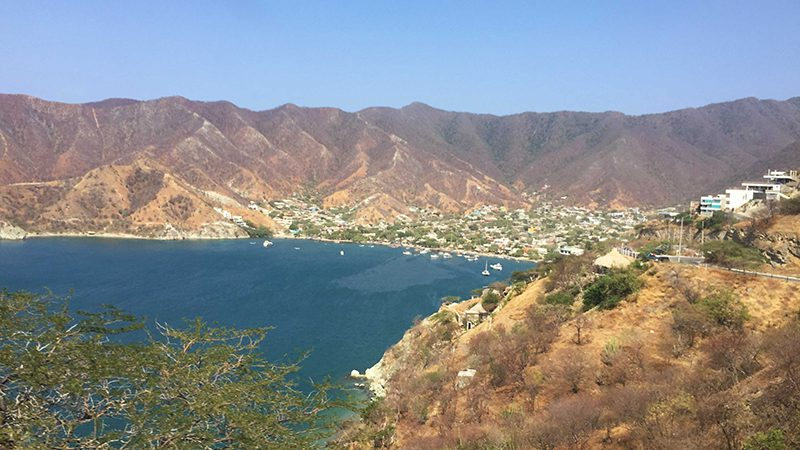 the view of the town of Taganga, Colombia from above