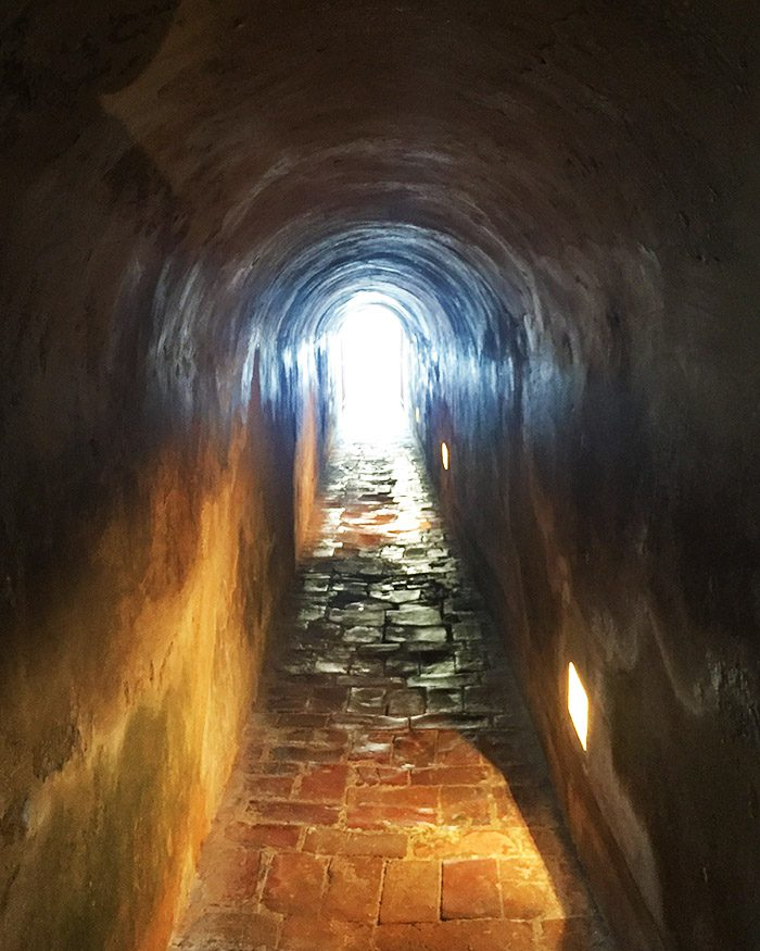 Tunnel inside the Castle in Cartagena