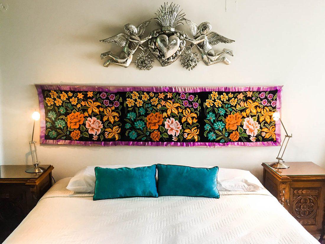 bed at casa de las bugambilias oaxaca