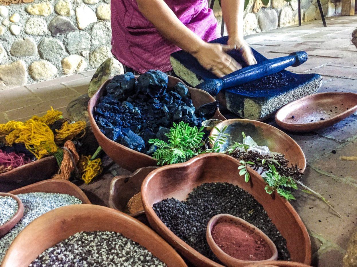 grinding indigo textiles oaxaca