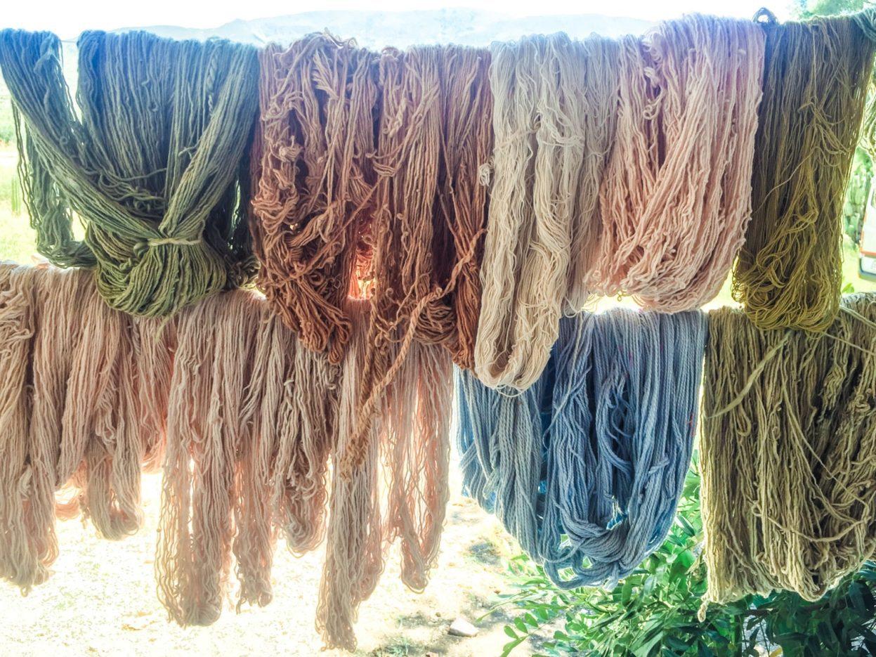 textile tour Oaxacayarn skeins mitla oaxaca