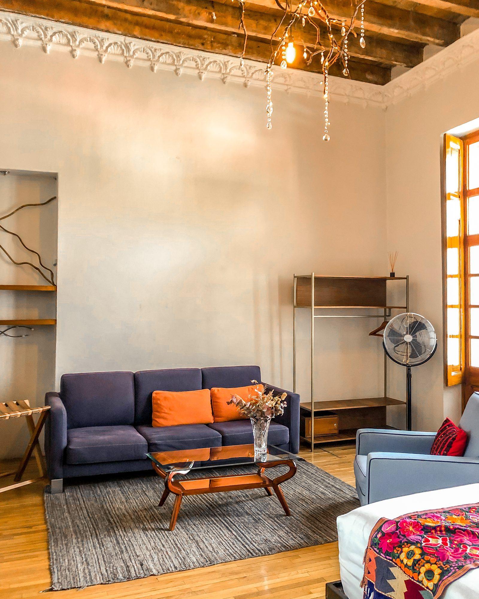 Chiapas suite sofa and sitting area Mexico City