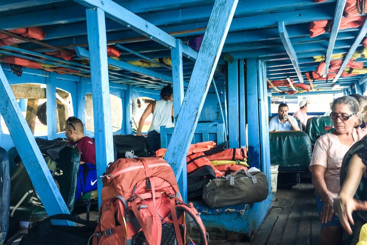 inside of a ferry ometepe nicaragua