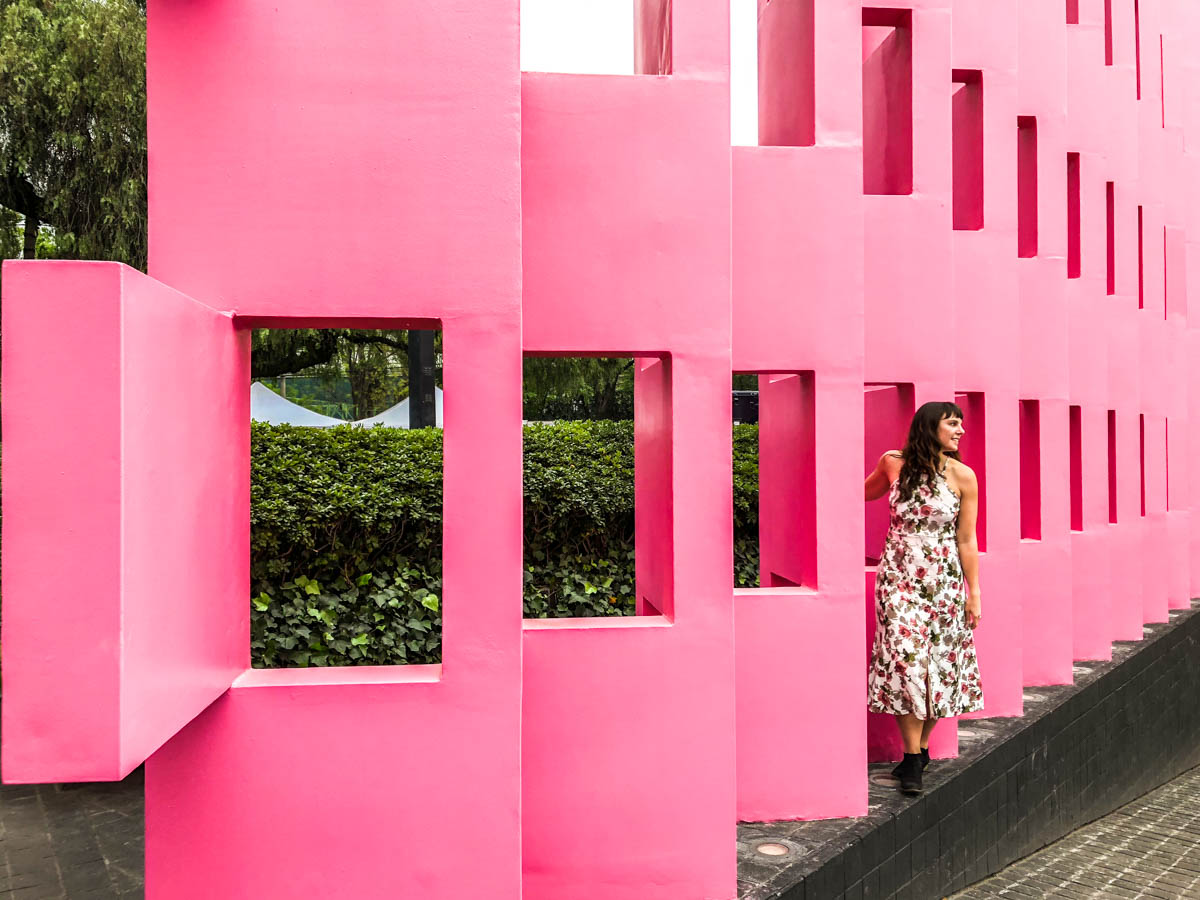 hotel camino real polanco pink wall mexico city