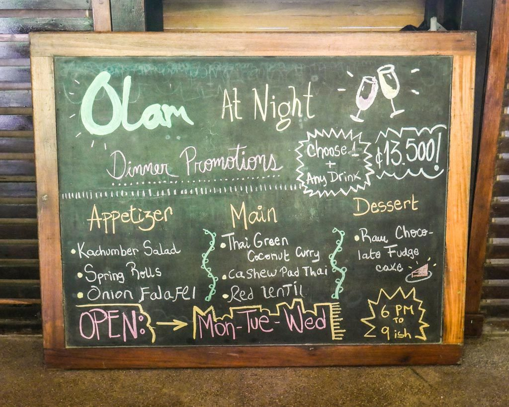olam pure food menu santa teresa costa rica