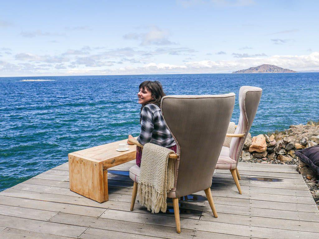 terrace terrace hotel lake titicaca chairs