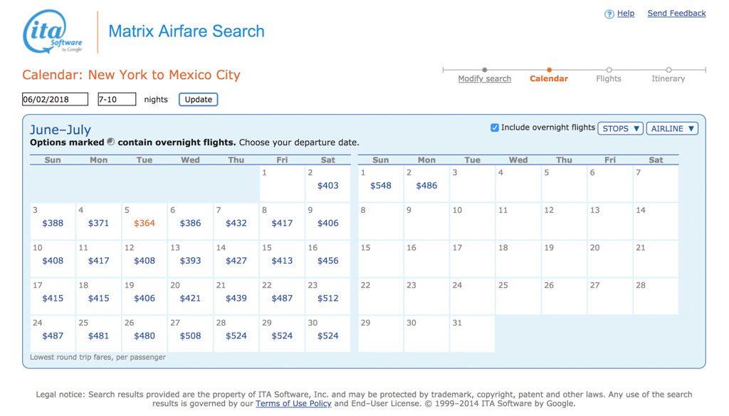 free flights affordable flights ita matrix search