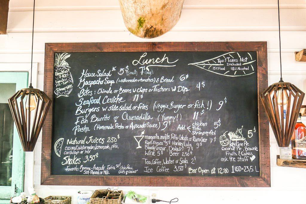 menu at camp bay lodge