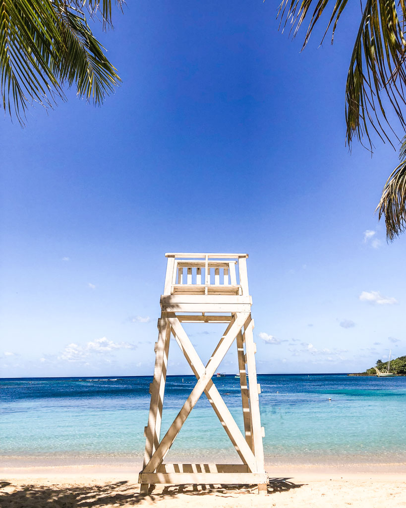 roatan travel lifeguard chair west end beach