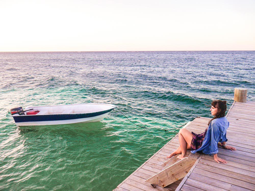 roatan vacation boat and pier