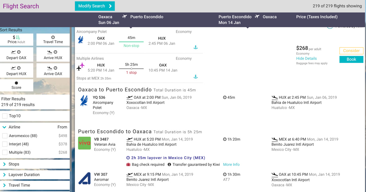 flight search in relovate trip itinerary