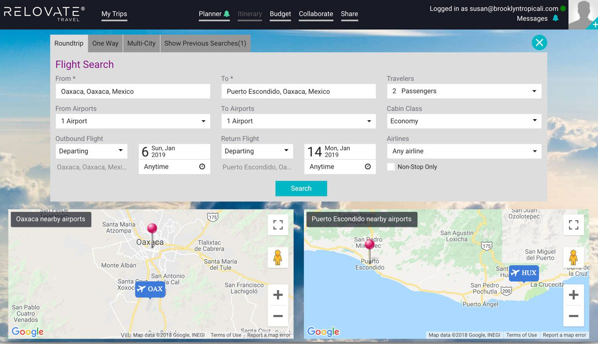 flight search with maps relovate