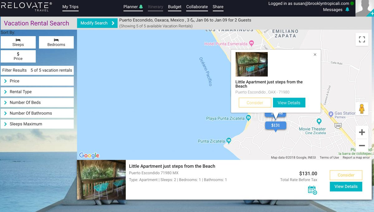 vacation rental trip planning tool