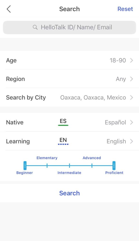 hellotalk spanish language exchange search for language partners