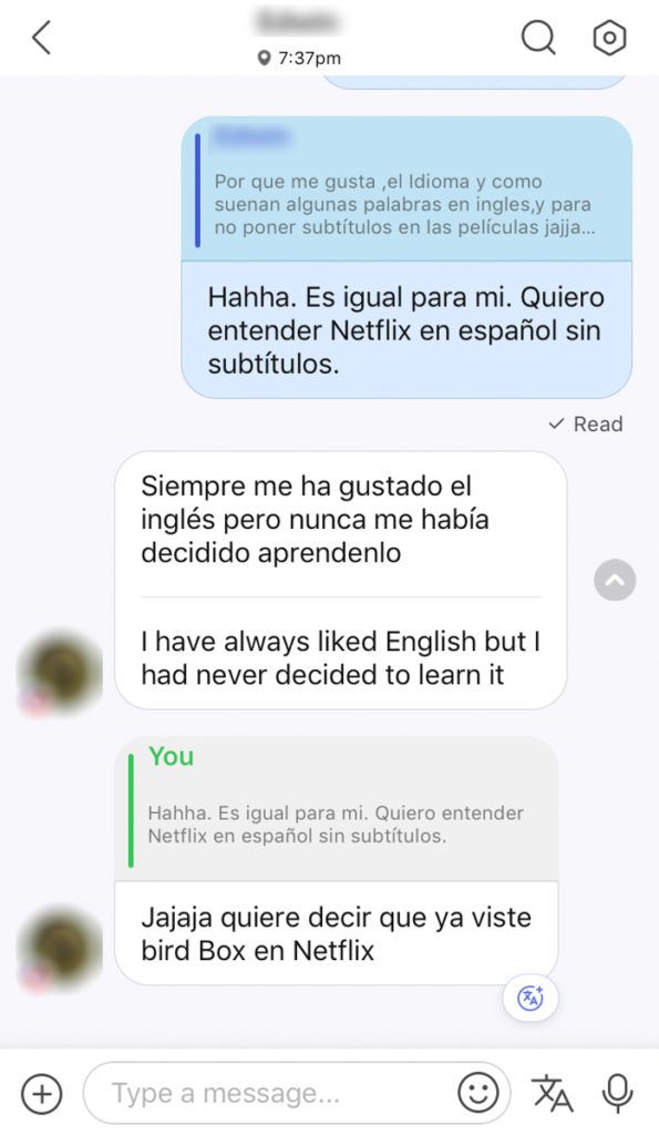 hellotalk spanish language exchange translation feature