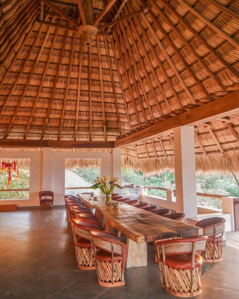 dining room at zazil retreat san agustinillo