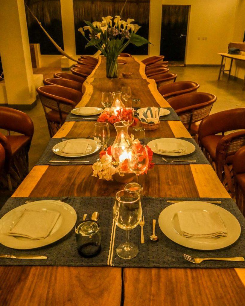 dinner at zazil retreat san agustinillo