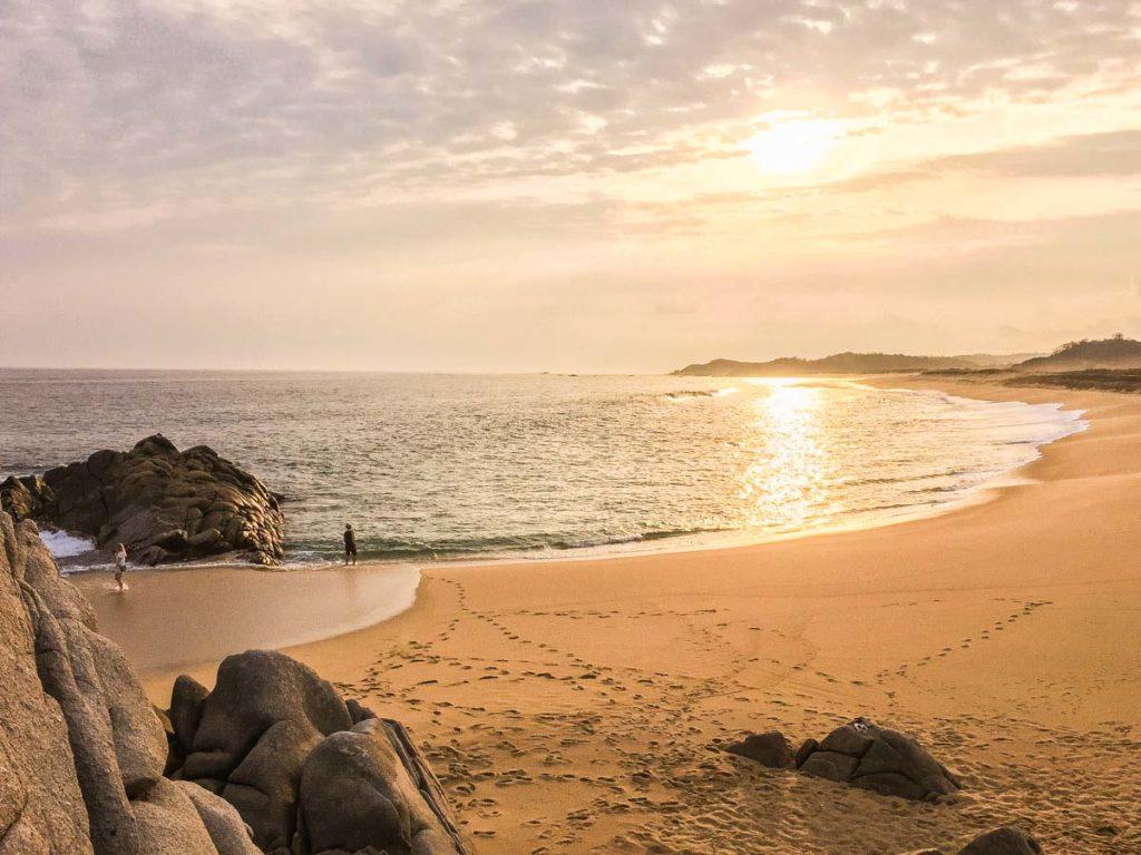 empty beach at huatulco bay