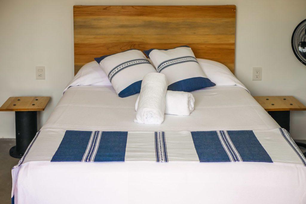 bed in casita at villas punta azul oaxaca airbnb