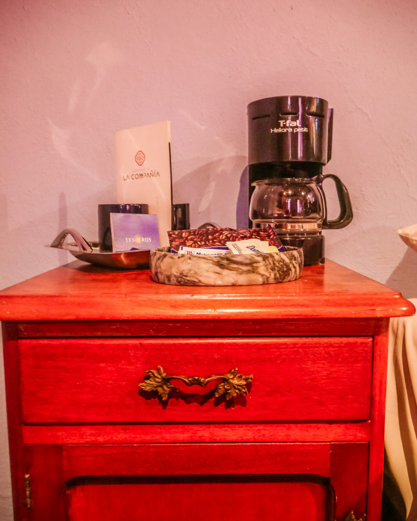 coffee and tea in room at puebla hotel