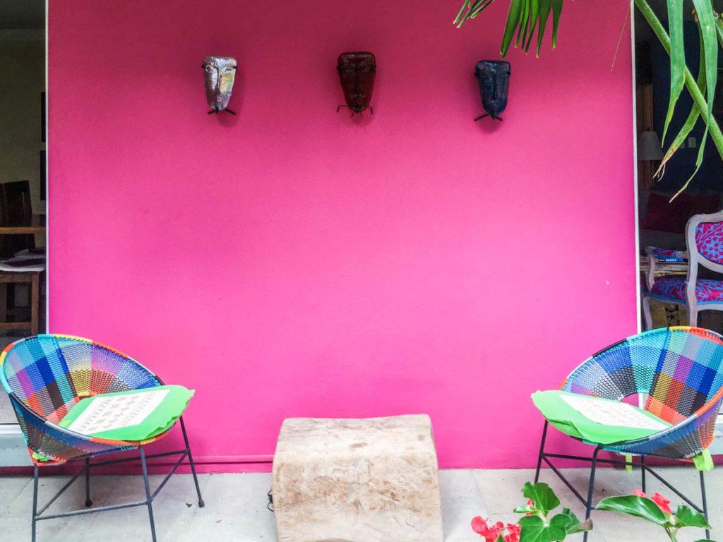 courtyard at casa de las bugambilias oaxaca