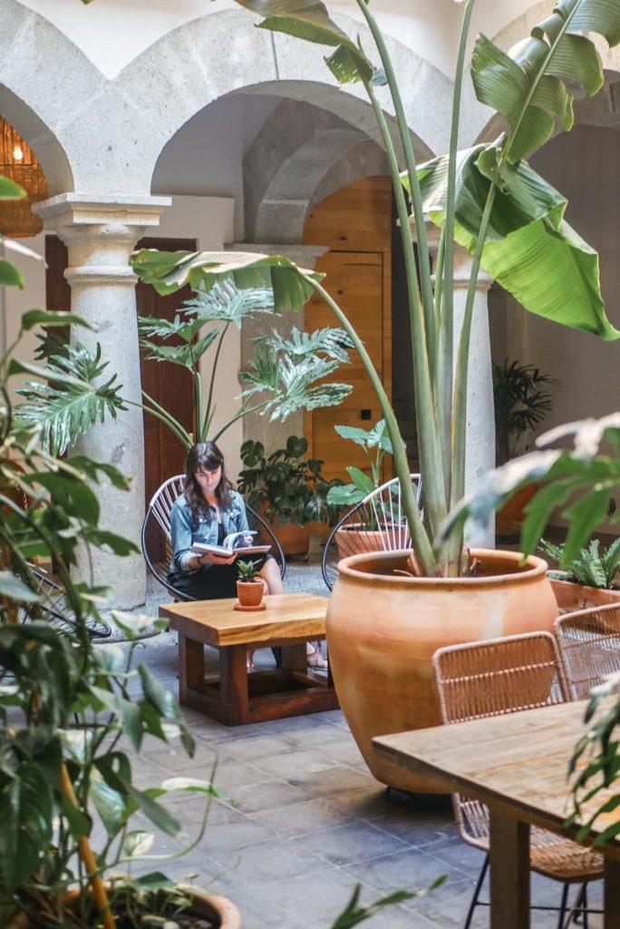 courtyard in casa antonieta boutique hotel oaxaca city