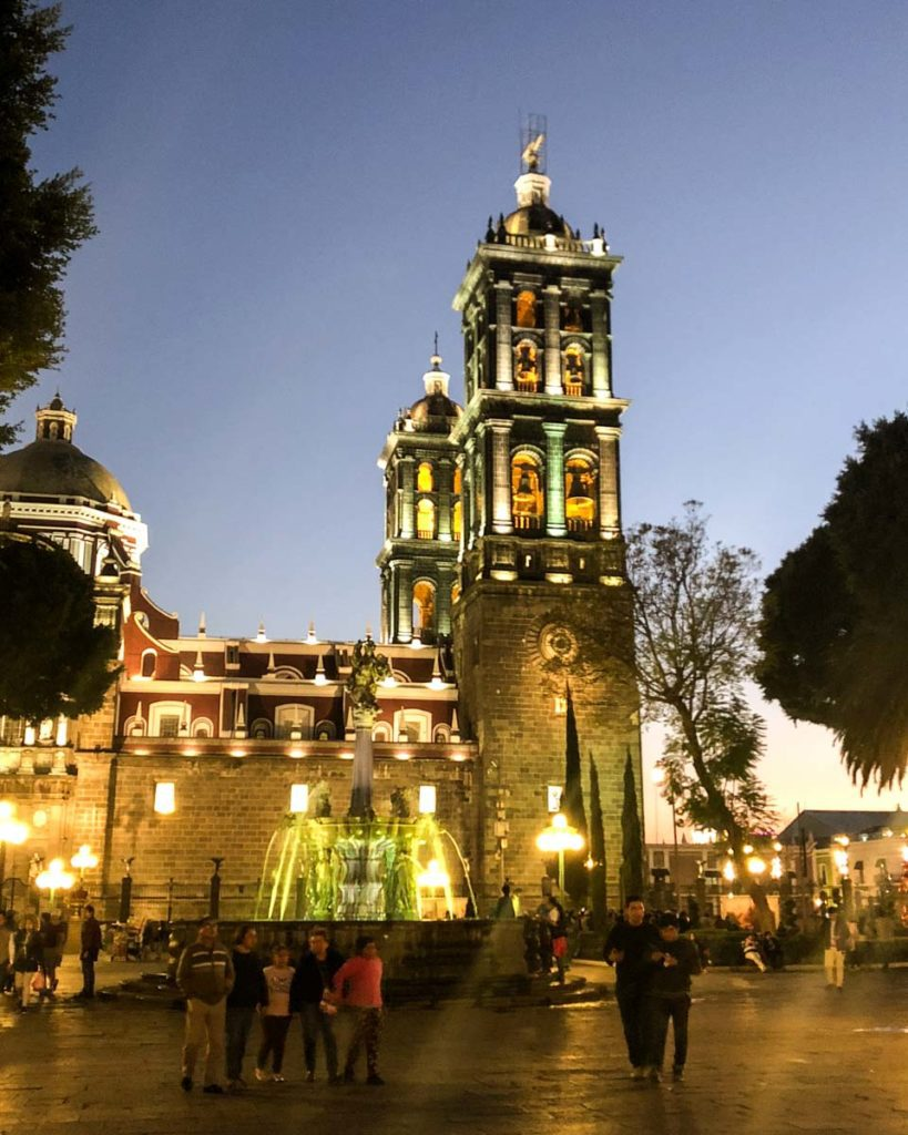 el zocalo de puebla at night