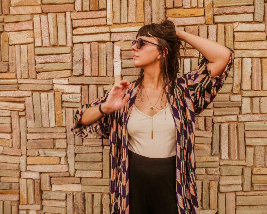 front of aura kimono light travel jacket