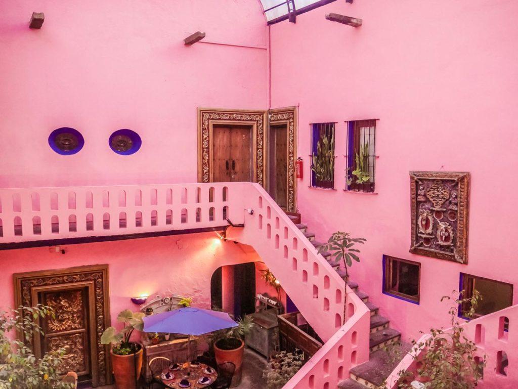meson sacristia puebla hotel pink courtyard