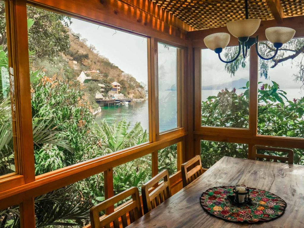 dining room with view of lake lake atitlan retreat