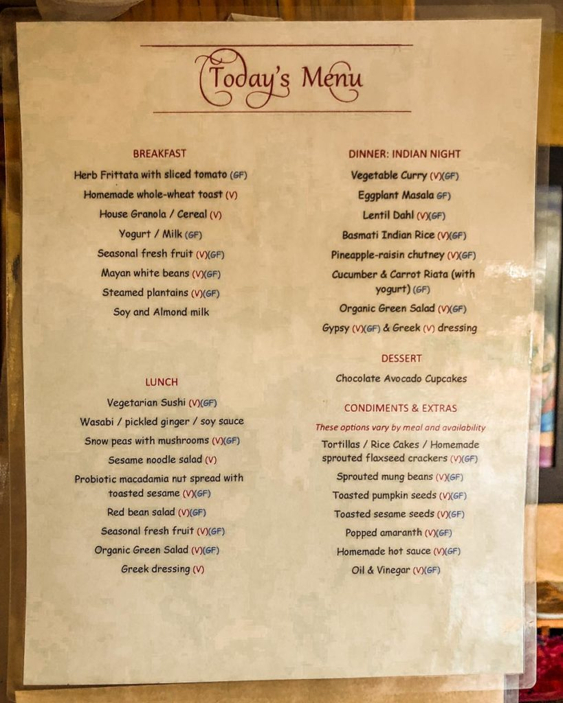 menu at villa sumaya wellness yoga retreat guatemala