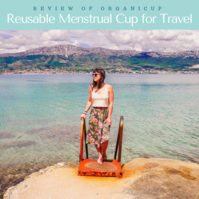 reusable menstrual cup for travel, organicup thumbLR