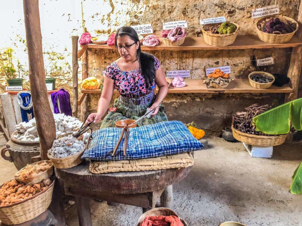 san juan la laguna textile demonstration guatemala lake atitlan