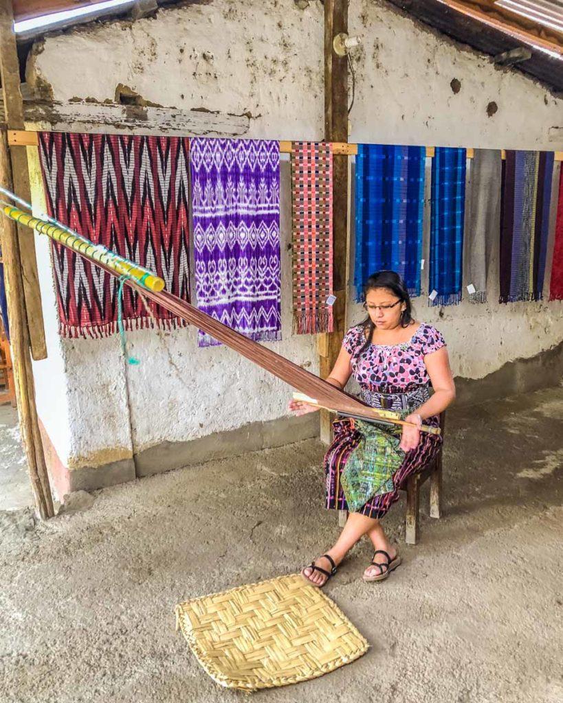 san juan la laguna textiles demonstration best places to visit in guatemala