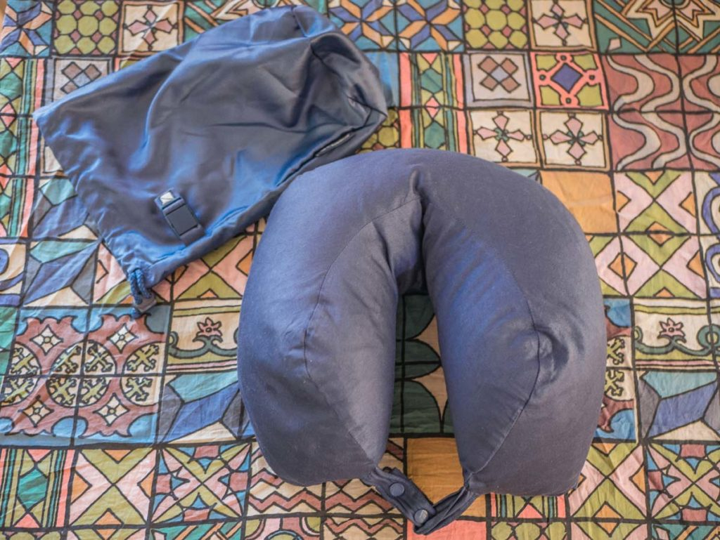 travel blue neck pillow with case