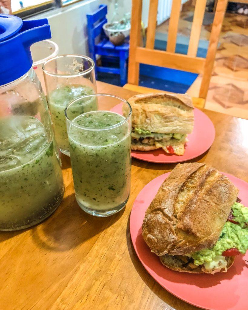 oaxaca style spicy burgers with agua de pepino