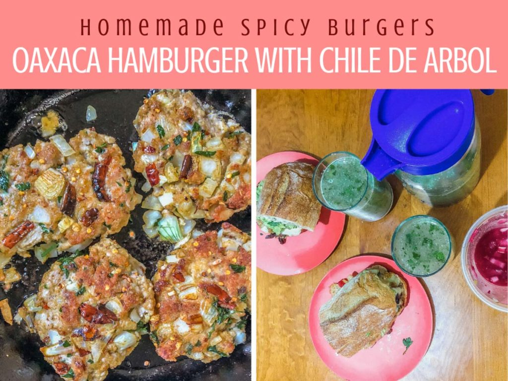 homemade spicy burgers, oaxaca style with chile arbolLR