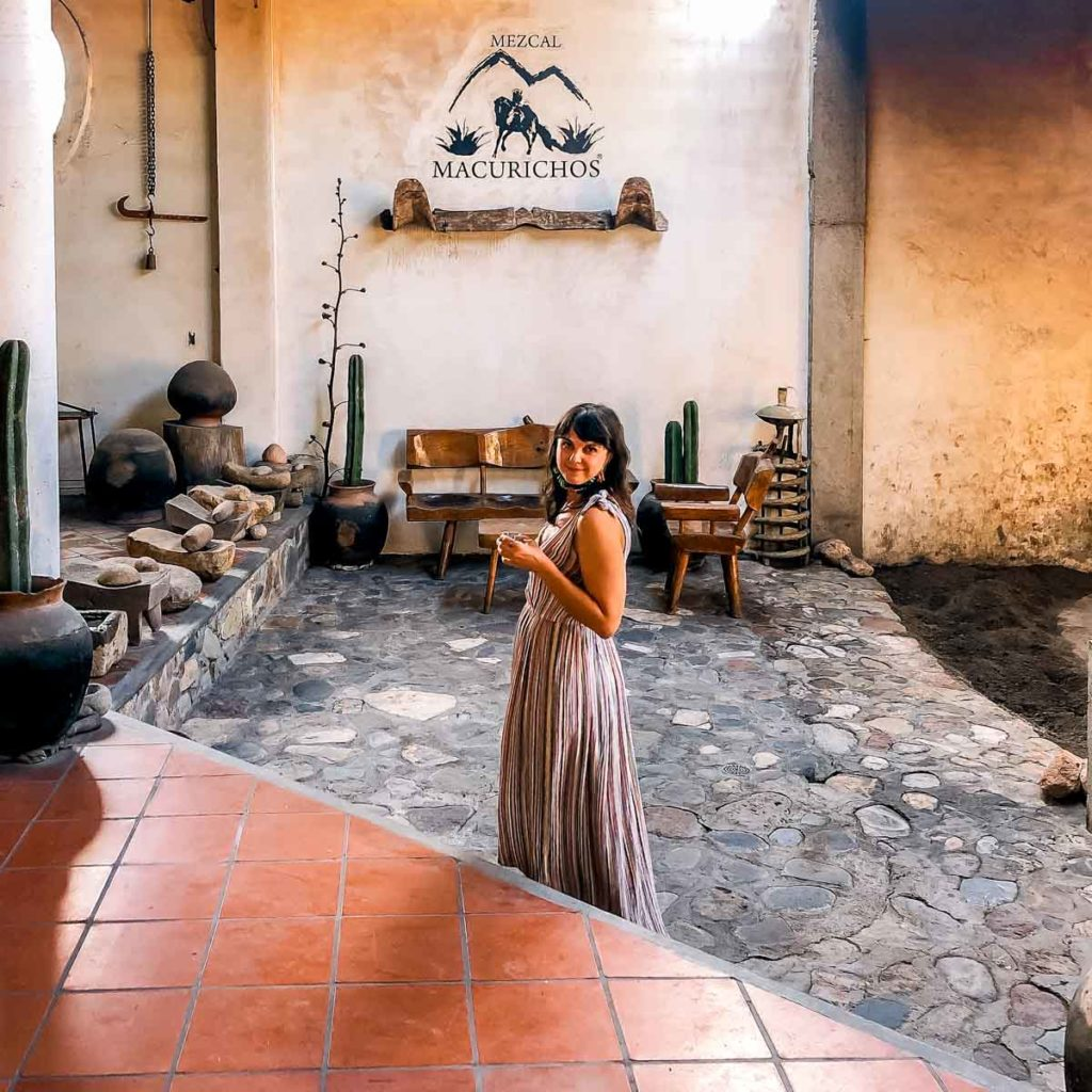 trying abrojo agave gin at mezcal macurichos oaxaca